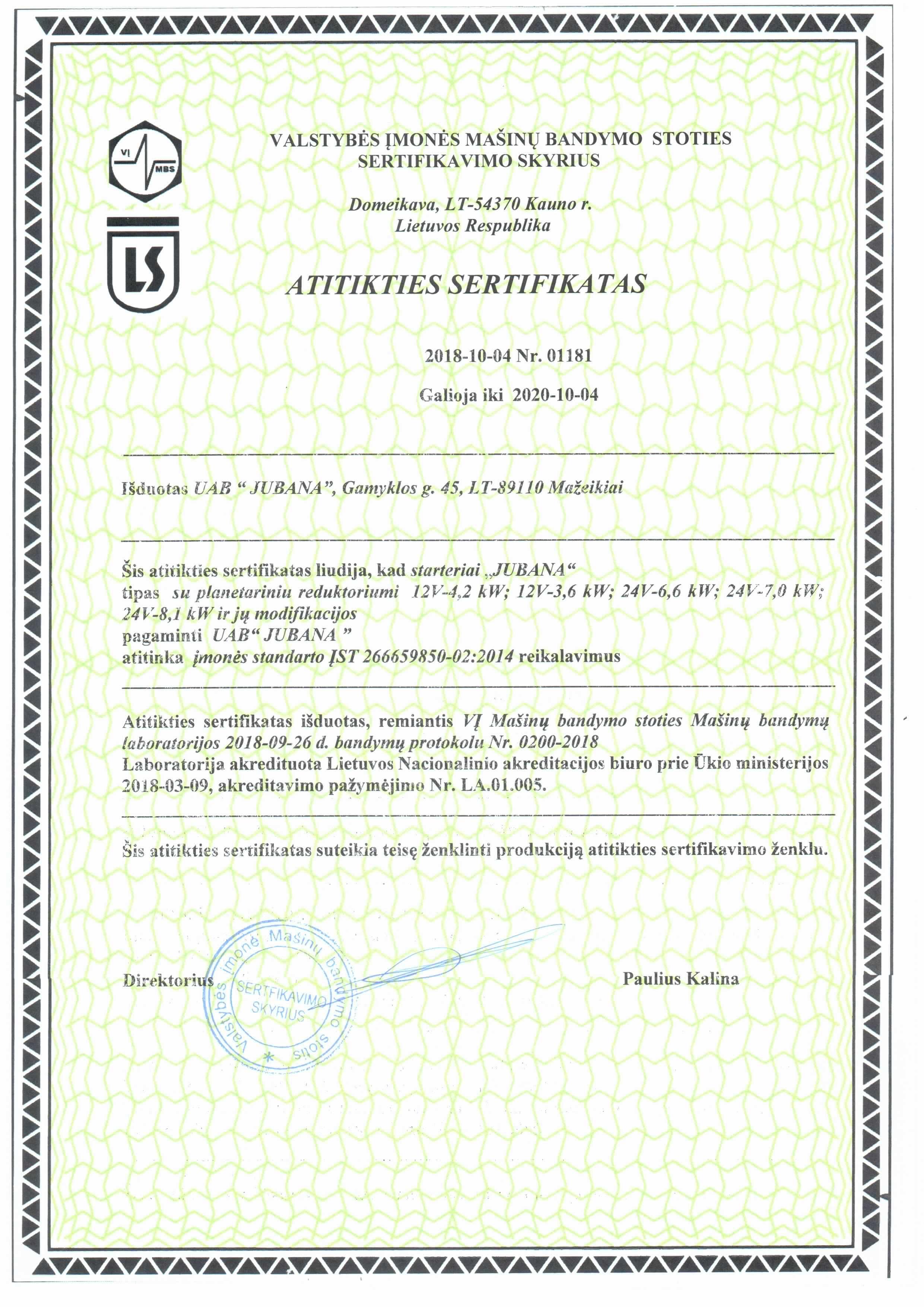 starteris sertifikatas jubana plan-lt