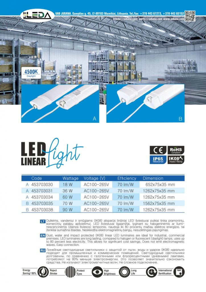 Litleda LED linijiniai vidaus